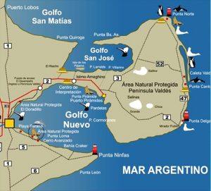 Mapa Península Valdéz Patagonia Argentina